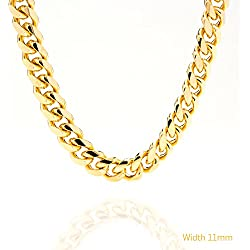 Gold Cuban Link Chain 11MM, Round, 24K Over Bronze Fashion Jewelry Necklaces, Resists Tarnishing, GUARANTEED FOR LIFE, Made by Lifetime Jewelry, 36 Inches