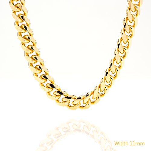 Gold Cuban Link Chain 11MM, Round, 24K Over Bronze Fashion Jewelry Necklaces, Resists Tarnishing, GUARANTEED FOR LIFE, Made by Lifetime Jewelry, 36 Inches by Lifetime Jewelry