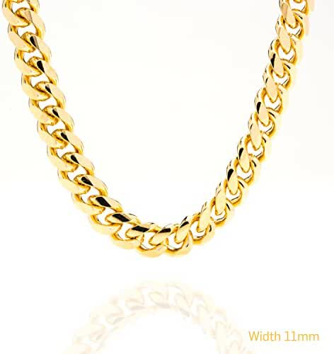 Lifetime Jewelry Cuban Link Chain 11MM, Round, 24K Gold with Inlaid Bronze, Premium Fashion Jewelry Necklaces, Resists Tarnishing, Guaranteed for Life, 18-36 Inches