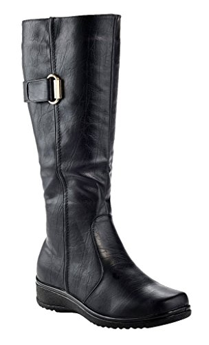 Rasolli Women's Lala Tall Knee High Zip up Low Wedge Riding Boots by Rasolli