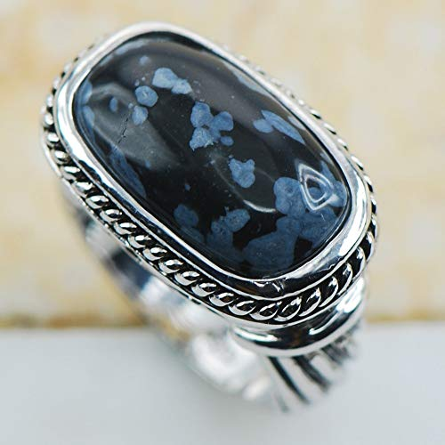 Handcrafted Snowflake Obsidian - Snowflake Obsidian 925 Sterling Silver Fancy Jewelry Wedding Ring Size 6 7 8 9 10 11 F1198