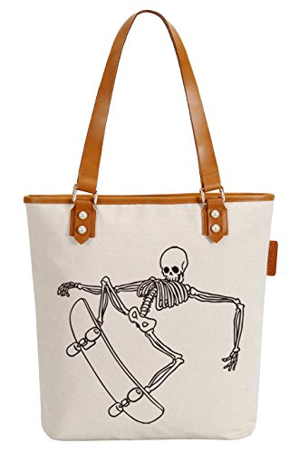 So'each Women's Skate Skull Canvas Tote Pearly Top Handle Shoulder Bag
