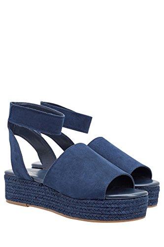 next Mujer Plataformas Planas Esparto Corte Regular Zapatos Azul Marino