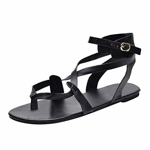 Donne Eleganti Ragazze Kword Romane Flip Tip da Shoes Cross Donna Scarpe Nero Toe Scarpe Sandali Spiaggia Flops Estate Sandali Donne Pantofole qSSXnt