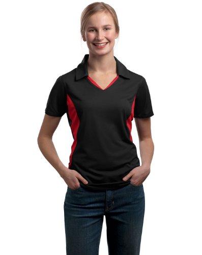 Sport-Tek - Ladies Side Blocked Micropique Sport-Wick Polo. LST655 - Black/Red_XL