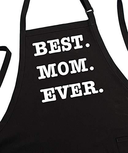 (BEST MOM EVER Aprons For Women, Black, 2 Pockets, Adjustable Neck)
