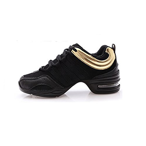 Trainers Shoes Split Golden Jazz Sneakers Womens for Lace YIBLBOX Dance Up Girls Mesh Ballroom Sole X1x6EPw