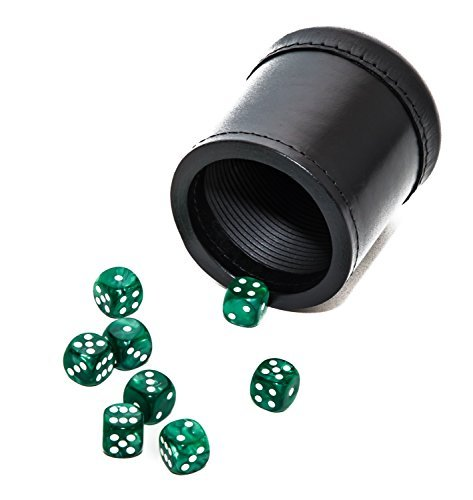 Bello Games Professional Genuine Leather Ribbed Dice cup with 8 Deluxe Marbleized Dice [並行輸入品]   B07J6GGGQR