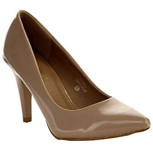BELLA MARIE LORY-1 Womens Pointed Toe Slip On Office Dress Pumps, Color:TAUPE, Size:9