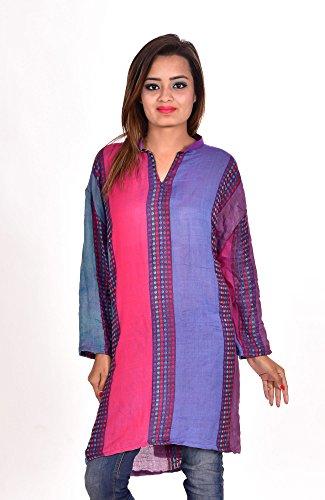 Indian-Rayon-Pashmina-Multi-Color-Kurta-Top-Dots-Print-EthnicTunic-Kurti-plus-size