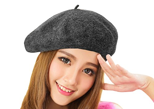 [Chic 100% Wool Winter Warm Classic French Beret Beanie Hat Cap for Women Girls - Solid Color] (France Costume For Girls)