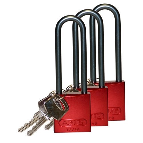 Brady 123302, Red Aluminum Padlock, (3 Packs of 3 pcs)