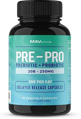 MAV Nutrition Probiotics + Prebiotics for Digestive Enzymes Support, Non-GMO, Vegetarian Friendly, 60 Count