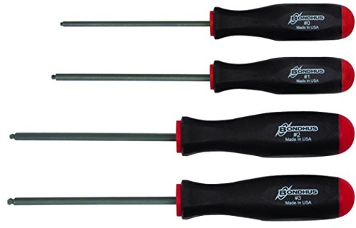 Bondhus 11640 Set of 4 Square Recess Screwdrivers, sizes #0-3 (Robertson Screwdriver Sizes)