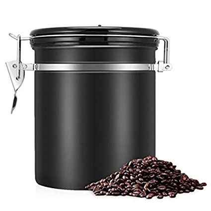 Coffee Container Stainless Steel Coffee Canister Airtight 450g Coffee Beans Storage Jar Vacuum Seal with Fresh Calendar (Black) xunooo