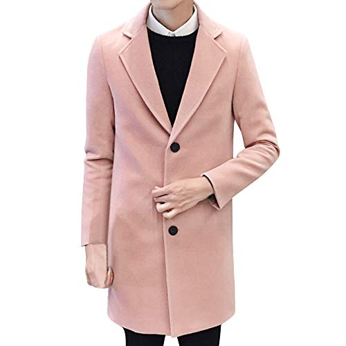 Toimothcn Men Single Breasted Pea Coat Formal Business Blazer Suit Long Jacket Outwear ()