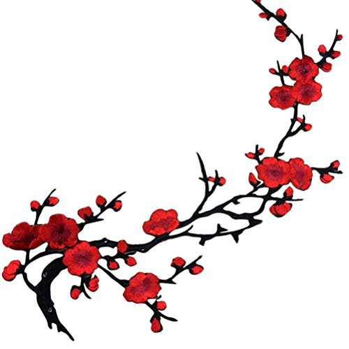 LIGONG 1 Pieces Flowers Iron on Patches,Embroidery Sew Iron On Applique for Bags Jackets Trim,Red Plum - Blossom Migi