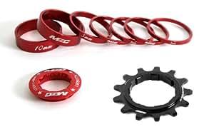 MSC Bikes Single Speed - Set para bujes con cassette standard de ciclismo, color rojo anodizado