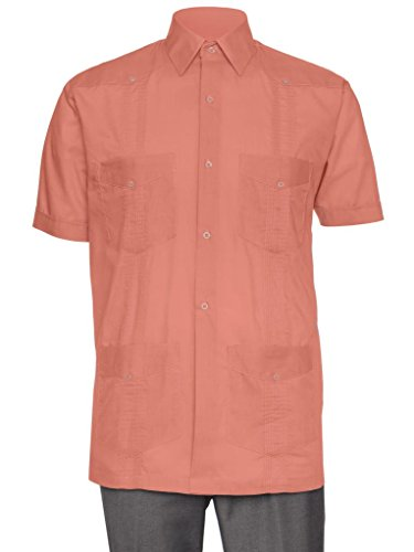 Gentlemens Collection Short Sleeve Guayabera Shirt - for Men Cuban Rust Medium