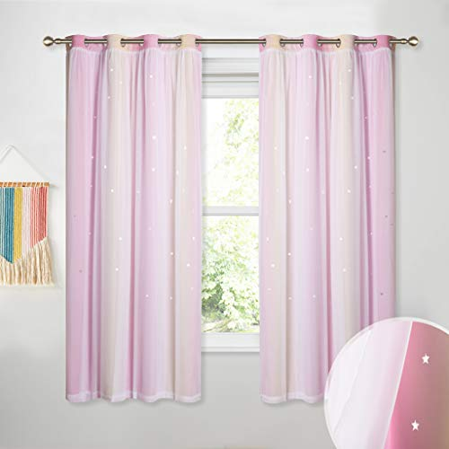 PONY DANCE Star Curtains Sheers - Decorative Hollow Out Star Pattern Gradient Drapes Room Darkening Double Layers with White Sheers Window Blinds for Children, 52 x 63 inches, Pink/Yellow, Set ()