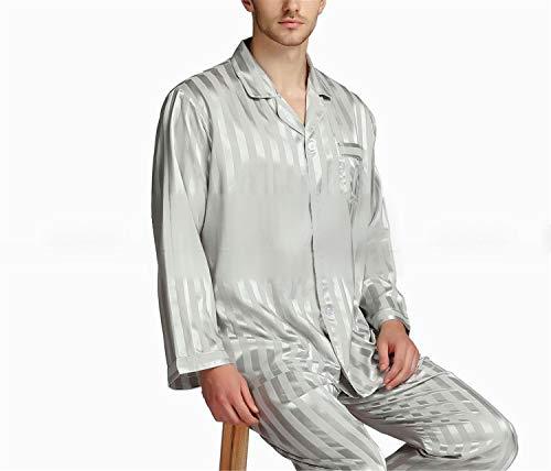 Uomo Da Pigiama Grigio 4xl Nero Raso Di Notte Seta In Splento Set Loungewear xqHCZaaB