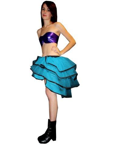 De luz ultravioleta diseño de luces de colores bullicio de canasta de capas para faldas tutú de plumas de pavo real Azul