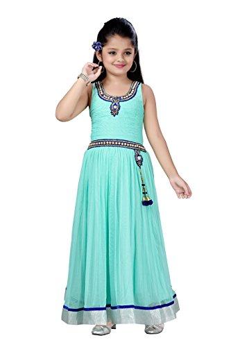 Aarika Girl's Self Design Premium Net Fabric Party Wear Ball Gown (G-11885-GREEN_40_15-16 Years) by Aarika