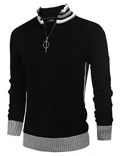 Cable Half Zip Sweater (Coofandy Men's Business Casual crew neck Long Sleeve Sweater Quarter-Zip Pullover, Black ,Medium)