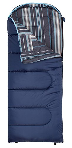 TETON Sports Celsius Junior for Boys -7C/+20F Sleeping Bag; 20 Degree Kids Sleeping Bag Great for Camping; Blue/Stripe Liner, Left Zip