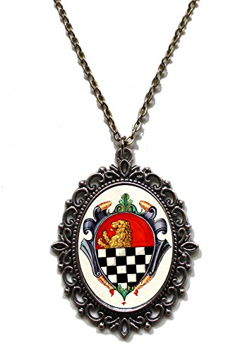 Pre Raphaelite Costume (Victorian Vault Medieval Heraldry Painting Pendant Necklace on Chain (Herald 15))