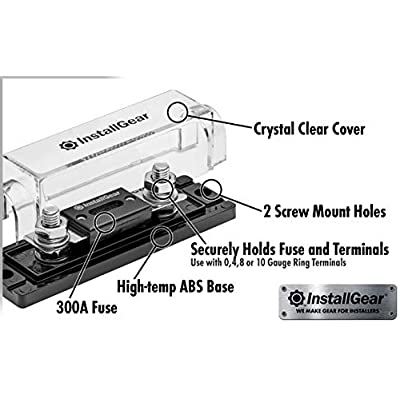 InstallGear 0/2/4 Gauge Ga ANL Fuse Holder + 300 Amp ANL Fuses (2 Pack): Car Electronics