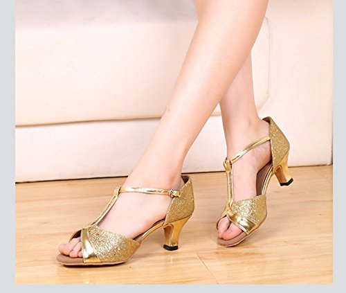 Bininbox Mujer Latin Dance Zapatos Hebilla De Satén Hebilla 5 Cm Heel Gold