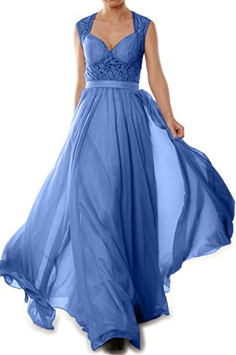 MACloth Women Chiffon Lace Illusion Long Prom Formal Dress Evening Party Gown Azul