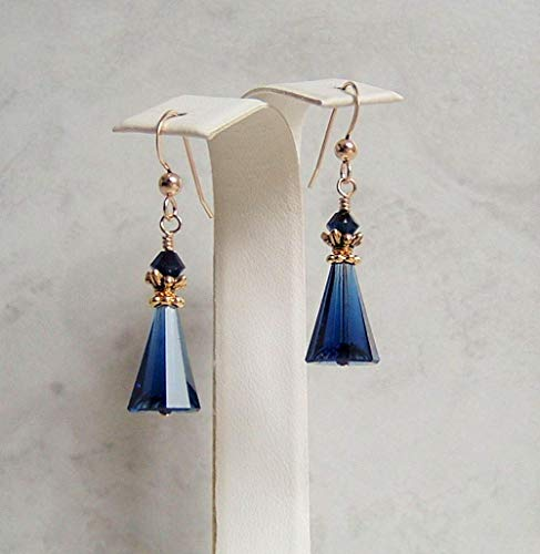 Dark Navy Blue Crystal Cone Gold Filled Earrings Simulated Sapphire Gift Idea Blue Sapphire 14kt Gold Ring