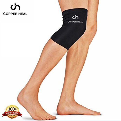 COPPER HEAL Knee Compression Sleeve - BEST Medical Recovery Knee Brace GUARANTEED with Highest Copper Infused Content to Support Stiff Sore Muscles and Joints, Meniscus Tear and Patella Stabilizer