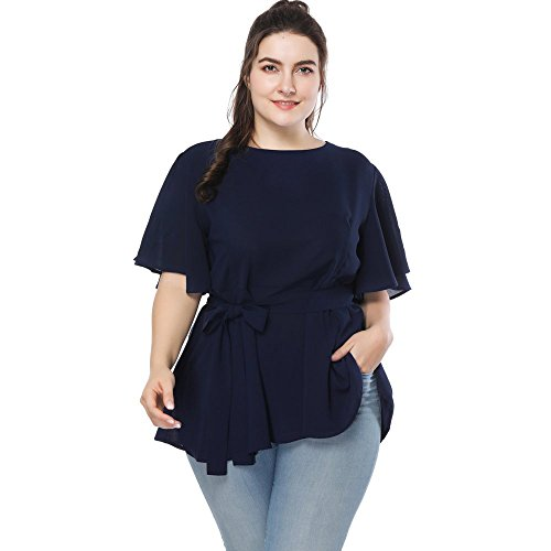 TangJie Women Floral Print Faux Wrap Chiffon Blouse Scoop Neck Flare Sleeve Loose-Fitting Tops Shirt (2XL, Navy ()