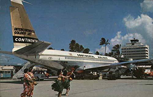 New Intercontinental Golden Fan Jet Honolulu, Hawaii HI Original Vintage Postcard