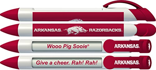 University of Arkansas Razorbacks Greeting Pen Rotating Message Pens - 4 pack (8005) Officially Licensed Collegiate Product