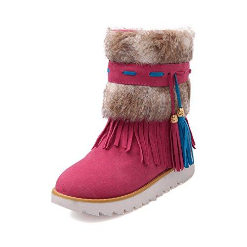 Frauen-flache Ferse Dickes Fell Quaste Dekor Fleece Winter Schnee Stiefeletten Rot