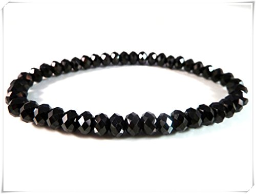 Black Spinel Stretch Bracelet,Sparkly Faceted Rondelle Roundel Gemstone Beads,pure handmade