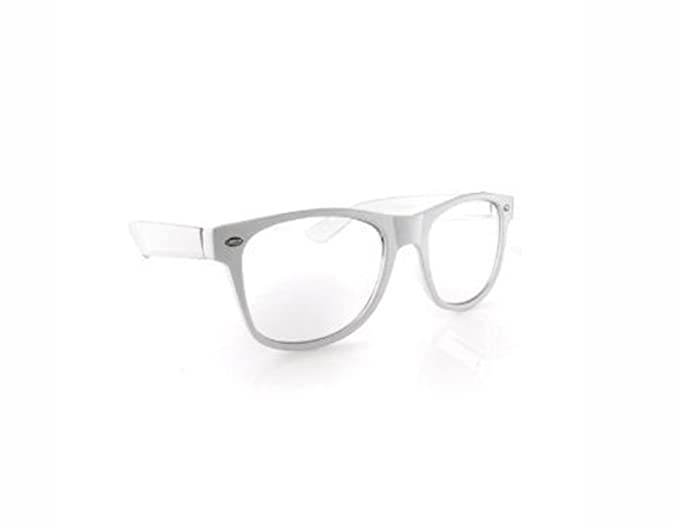 Amazon.com: Clear Lens Wayfarer NERD Sunglasses Color Frame - White ...