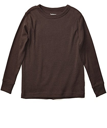Leveret Long Sleeve Solid T-Shirt 100% Cotton (6 Years, Brown)