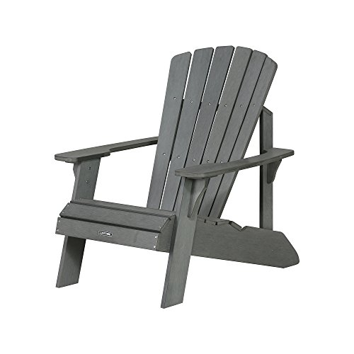 Polywood Furniture Outdoor (Lifetime Faux Wood Adirondack Chair, Gray - 60204)