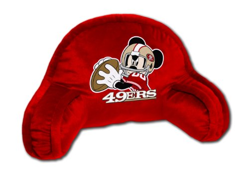 NFL San Francisco 49ers Mickey Mouse Plush 12-Inch-by-20-Inch Embroidered Bed Rest Pillow