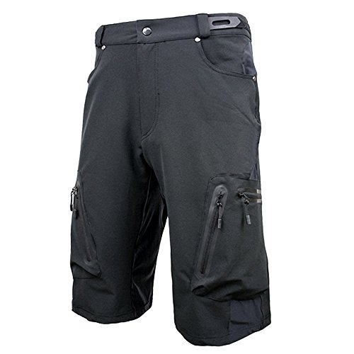 Cycorld Mens Mountain Bike Biking Shorts, Water Repellent MTB Shorts, Loose Fit Cycling Baggy Pants with Zip Pockets (Black, Large) 2 Mountain Bike Shorts