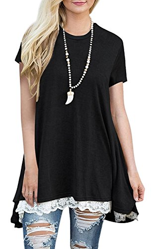 BELAMOR Womens Short Sleeve Plus Size Maternity Tunic Tops Black,XXL