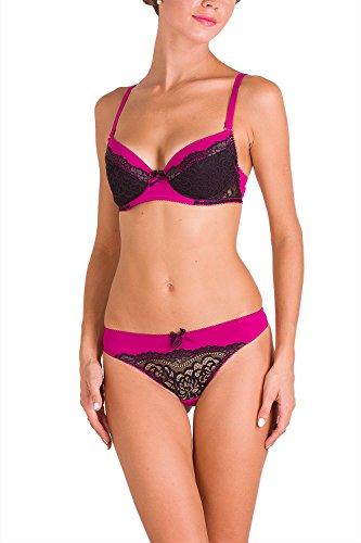 VPF 078 02002 Women Lingerie Lace Panties Sexy String Bikini Thong Underwear Gifts For Women Undies Pantys Briefs Thongs Valentine Day Presents, S Fuchsia&Black