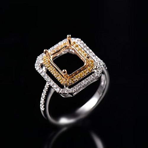 (FidgetGear Natural Diamond Semi Mount Ring Settings Emerald Cut 6x8mm Solid 18K 2-Tone Gold)