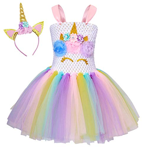 Cotrio Rainbow Unicorn Tutu Dress Girls Birthday Party Dresses Halloween Costumes Outfits with Headband Size 6 (6-7 Years, White)