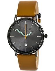 Ted Baker London Mens Black Analog Steel Watch Brown Leather Strap 10030656